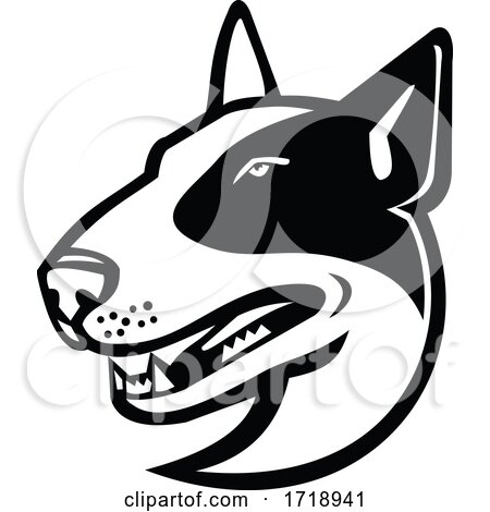 Head of Bull Terrier Dog Side View Mascot Black and White by patrimonio