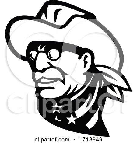 Head of American President Theodore Roosevelt Jr Side View Mascot Black and White by patrimonio