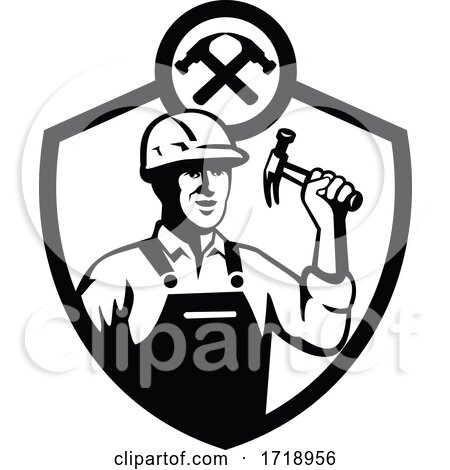 Builder holding hammer front retro CREST BW CUT Posters, Art Prints