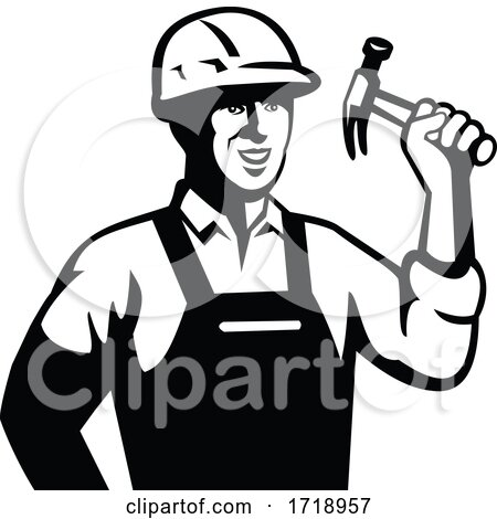Builder Carpenter Handyman Holding Hammer Front Retro Black and White Posters, Art Prints