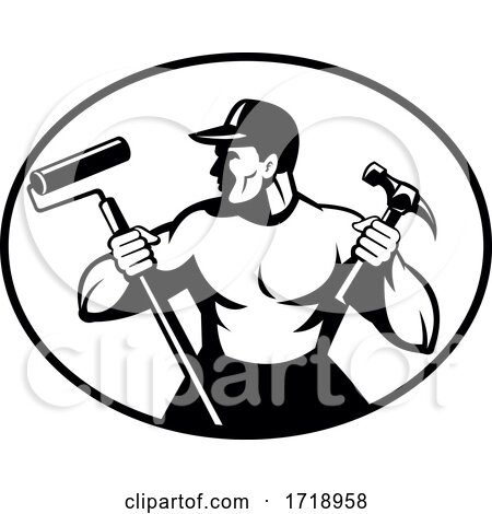 Builder Handyman Painter or Carpenter Holding Hammer and Paint Roller Retro Black and White Posters, Art Prints