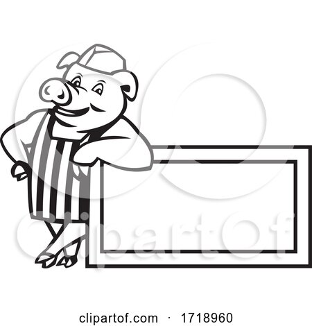 Butcher Pig Leaning on Sign or Signage Cartoon Black and White by patrimonio
