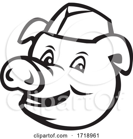 Head of Butcher Pig Wearing Hat Smiling Cartoon Black and White by patrimonio