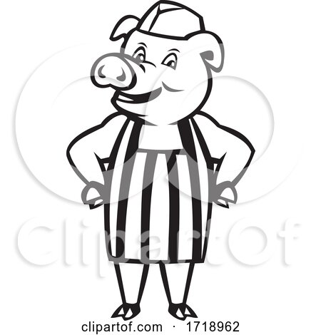Butcher Pig Wearing Apron Hands on Hip Cartoon Black and White by patrimonio