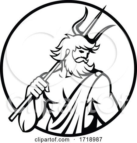 Roman God of Sea Neptune or Poseidon Holding Trident Circle Retro Black and White Posters, Art Prints