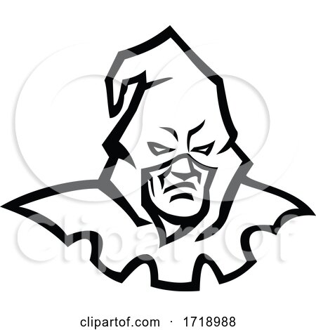 Head of a Hooded Medieval Executioner Wearing Mask Mascot Black and White by patrimonio