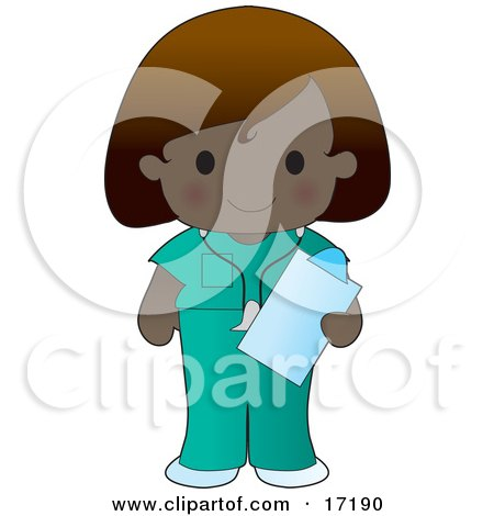Dark Skinned Female Medical Nurse Or Doctor In Scrubs, Holding A Clipboard While On Shift At The Hospital Clipart Illustration by Maria Bell