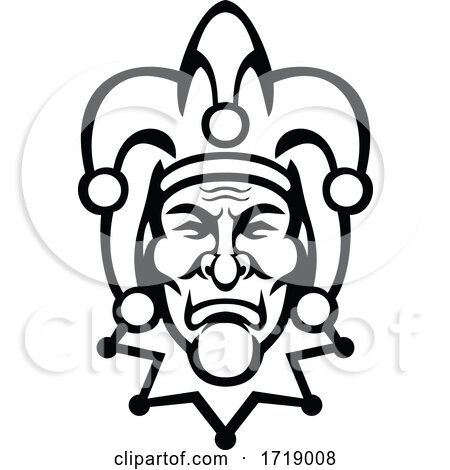Medieval Court Jester Head Front View Mascot Black and White by patrimonio