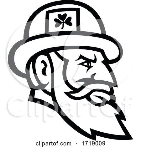 Irish leprechaun head side MASCOT BW CUT by patrimonio