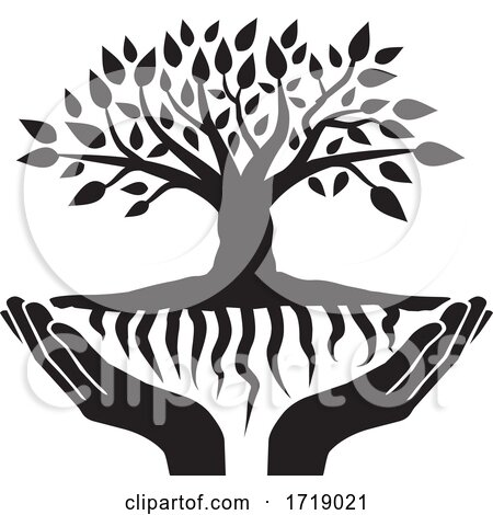 Black and White Tree with Roots and Uplifted Hands Posters, Art Prints