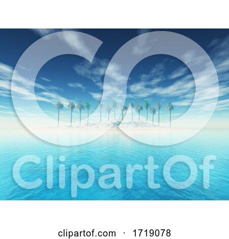 3D Tropical Palm Tree Island Landscape by KJ Pargeter