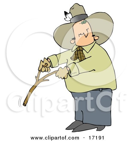 Caucasian Cowboy With A Feather In His Hat, Looking Back Over His Shoulder While Handling A Stick While Water Witching Or Dowsing Clipart Illustration Image by djart