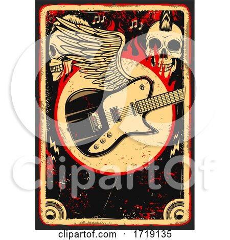 Grungy Skull and Guitar Background by Vector Tradition SM