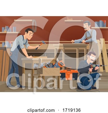 Carpenters Working in a Shop Posters, Art Prints
