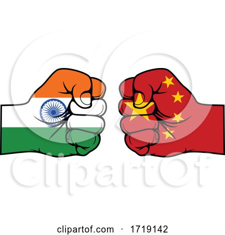 Fisted Indian and Chinese Flag Hands Posters, Art Prints
