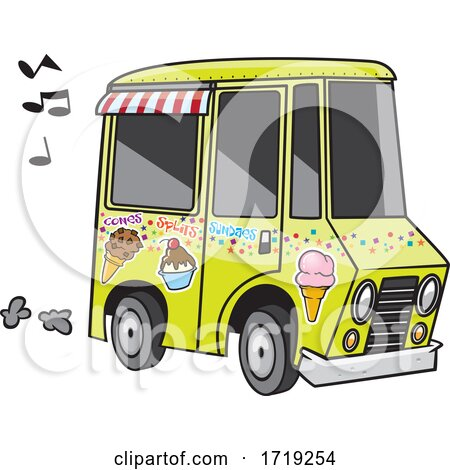 Cartoon Ice Cream Truck with Music Notes by toonaday