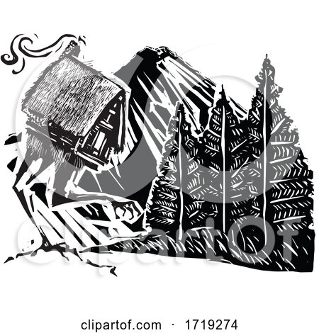 Black and White Woodcut Cabin and Mountain by xunantunich