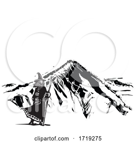Black and White Woodcut Wizard and Mountain by xunantunich