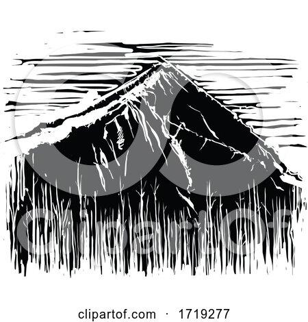 Black and White Woodcut Mountain by xunantunich