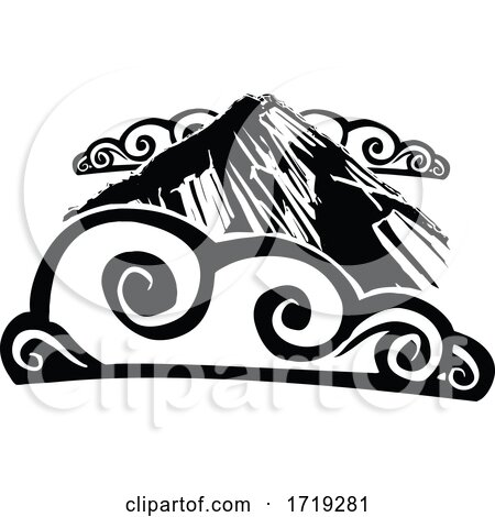 Black and White Woodcut Mountain and Clouds by xunantunich