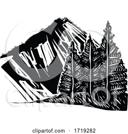 Black and White Woodcut Mountain and Trees by xunantunich