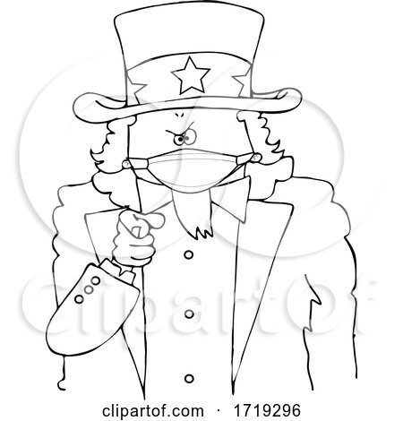 Black and White Uncle Sam Pointing at the Viewer and Wearing a Mask by djart