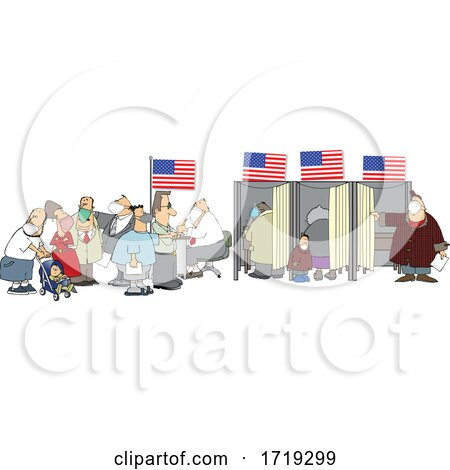 Cartoon People Wearing Masks at the Voter Booths by djart