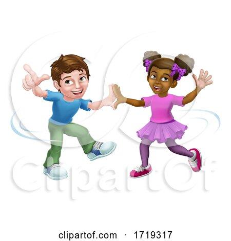 Girl and Boy Cartoon Kid Children Dancing by AtStockIllustration