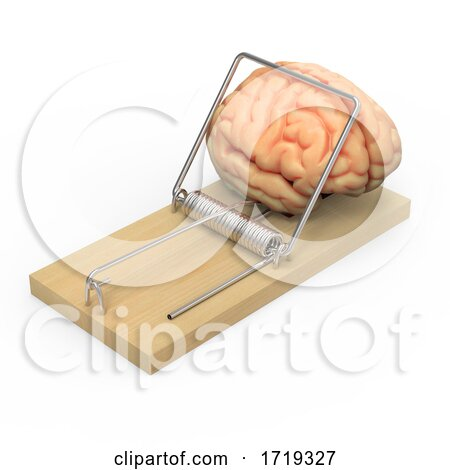 3d Wooden Mousetrap Traps Human Brain, on a White Background Posters, Art Prints