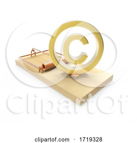 Wooden 3d Mousetrap with Gold Copyright Symbol, on a White Background Posters, Art Prints
