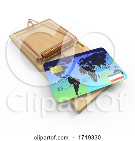 3d Credit Card Mousetrap, on a White Background Posters, Art Prints