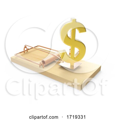 3d Wooden Mousetrap with Gold US Dollar Currency Symbol, on a White Background Posters, Art Prints