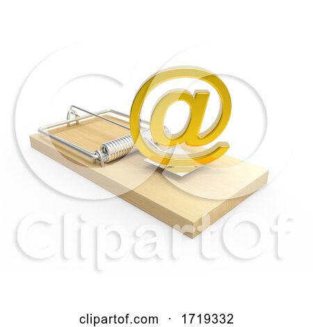 Wooden 3d Moustrap with Gold Email Address Symbol, on a White Background Posters, Art Prints