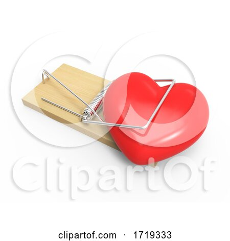 3d Heart in a Mousetrap, on a White Background Posters, Art Prints