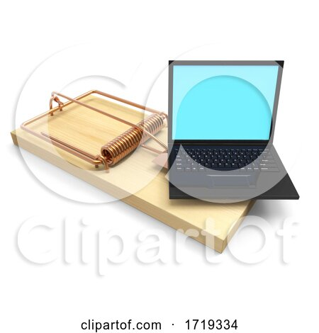3d Laptop Mousetrap, on a White Background Posters, Art Prints