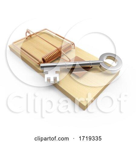 3d Mouse Trap Key, on a White Background Posters, Art Prints