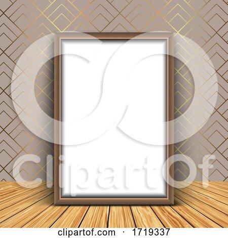 3D Blank Picture Frame Against an Elegant Wallpaper Background by KJ Pargeter