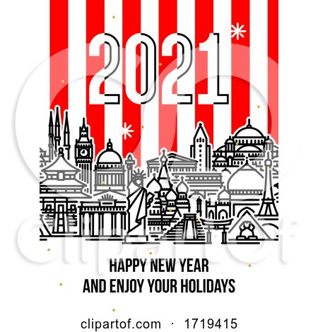 Modern Style Numbers 2021 with Cityscape of Worlds Most Popular Tourist Attractions and Happy New Year Greetings on Striped Background by elena