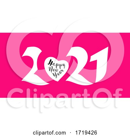 Elegant White Numbers 2021 with Heart and Happy New Year Greetings on Pink Background Posters, Art Prints