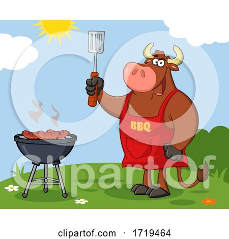 Cartoon Bull BBQ Chef Grilling Sausages on a Barbeque Outside Posters, Art Prints