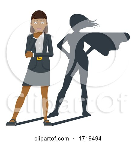 Business Woman Super Hero Shadow Cartoon Mascot by AtStockIllustration