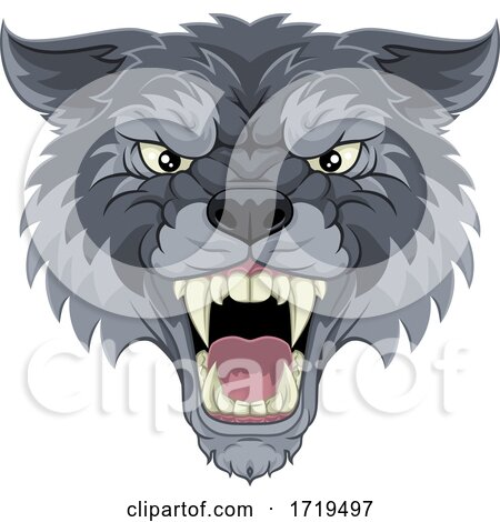 Wolf or Werewolf Monster Scary Dog Angry Mascot by AtStockIllustration