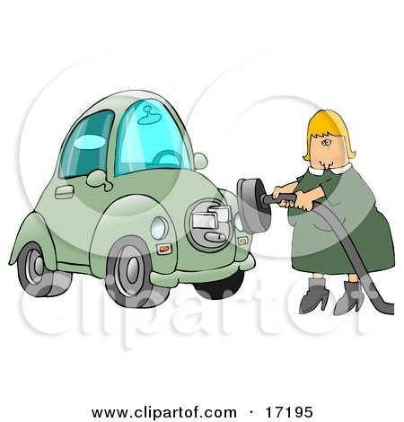 Blond Caucasian Woman In A Green Dress, Plugging In Her New Green Electric Car To A Socket So It Can Charge Clipart Illustration Image by djart