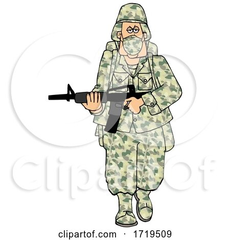 Cartoon Army Soldier Wearing a Mask and Walking with a Rifle by djart