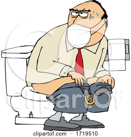 Cartoon Man Wearing a Mask and Taking a Dump in a Public Restroom by djart