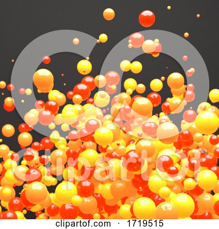 3d Red Orange and Yellow Cloud of Random Size Spheres by Steve Young