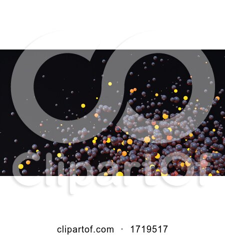 3d Cloud of Black and Orange Glowing Orange Spheres Dispersing in Space by Steve Young