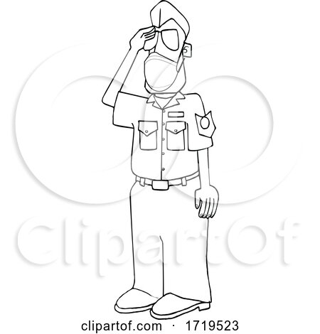 Cartoon Black and White United States Air Force Pilot Wearing a Covid Mask and Saluting by djart