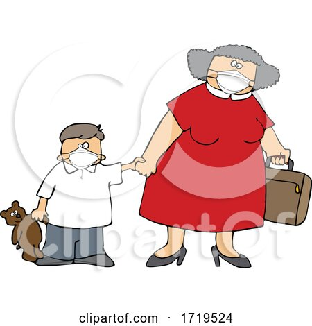 Cartoon Traveling Mother and Son Wearing Covid Face Masks by djart