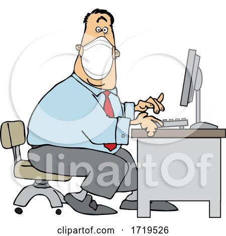 Cartoon Businessman Wearing a Covid Mask and Typing at a Desk by djart
